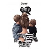 """Термокартинка """"Super mama - Mom of boys"""""""