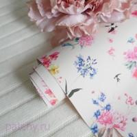Кожзам цветы и птицы на кремовом