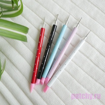 2в1 - Набор палочек дотс для тиснения (5 шт.) + силиконовые кисти (в наборе голубой, белый, красный, черный и розовый цвета)