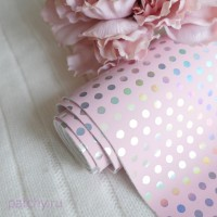 Кожзам горошек частый розовый
