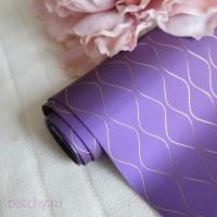 Кожзам с золотыми волнами на фиолетовом 21х50см
