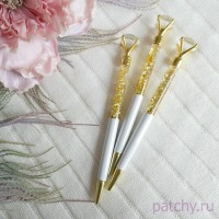 """Ручка с большим алмазом """"белый с блестками"""""""