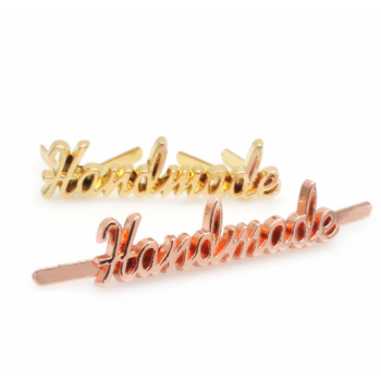 Металлический лейбл HANDMADE фигурный (золото, серебро, розовое золото, черное серебро)
