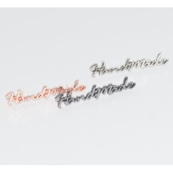 Металлический лейбл HANDMADE фигурный (вариант 2) (золото, серебро, розовое золото, темное серебро)