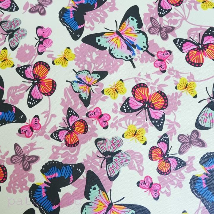 Купить кожзам разноцветные бабочки на черном для скрапбукинга и рукоделия
