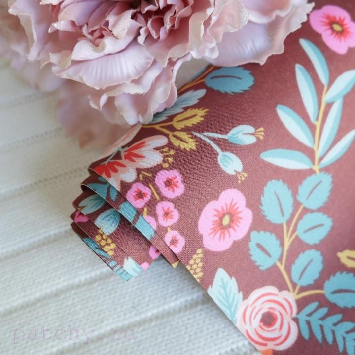 Купить переплетный материал цветы на коричневом шелке для скрапбукинга