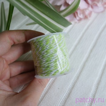 Хлопковый полосатый шнур Салатовый