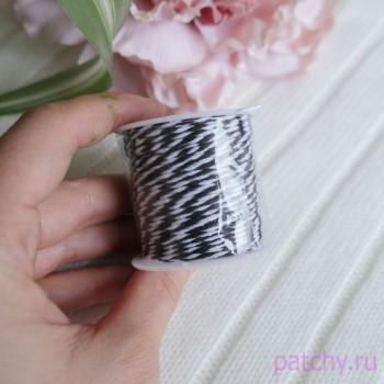 Хлопковый полосатый шнур Черный