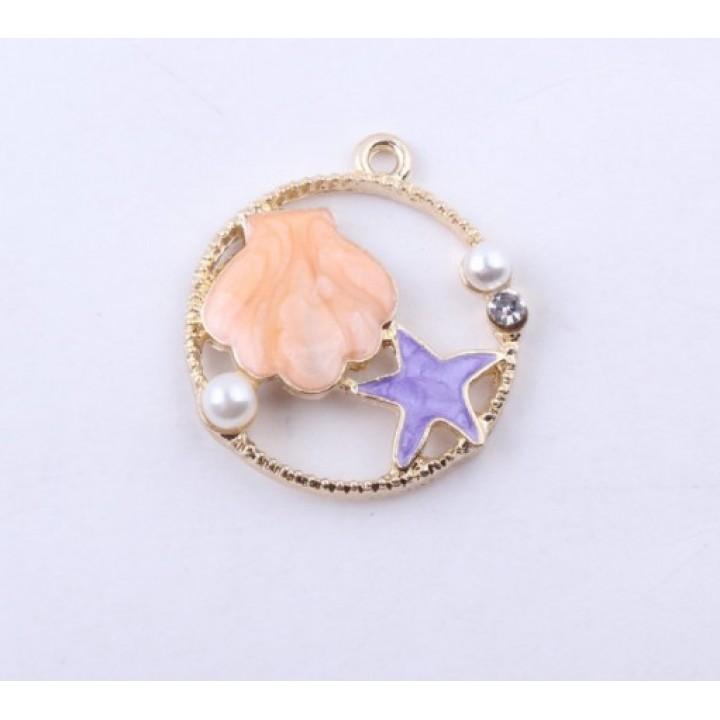 Подвеска Морская звезда с ракушкой персиковый