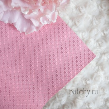Кожзам в крестик розовый